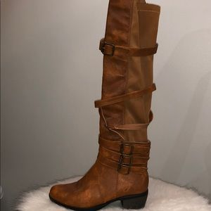 Chase & Chloe Brown Leather Boots